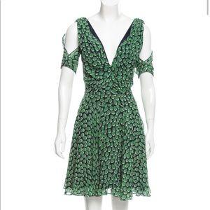 Z Spoke by Zac Posen Green/Blue Printed Silk Dress